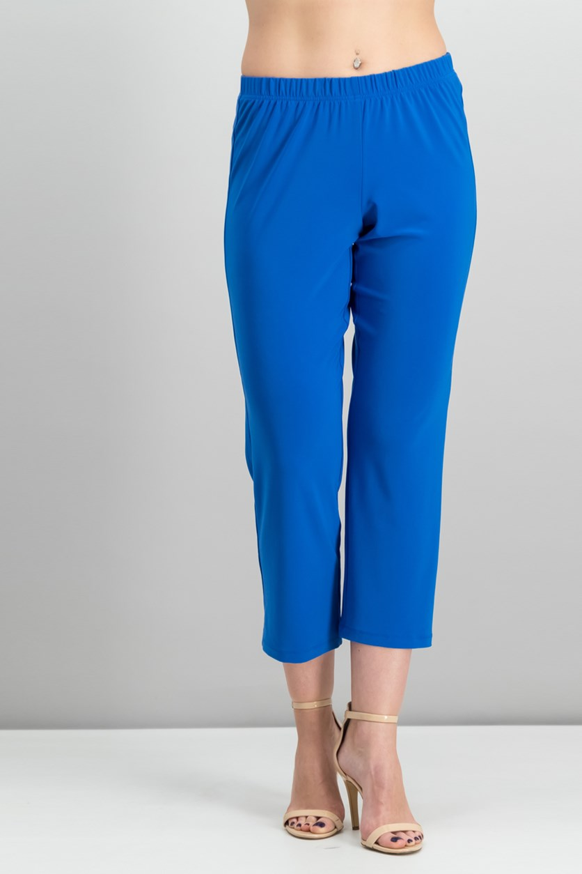 Petite Pull-On Straight-Leg Pants, Royal Blue