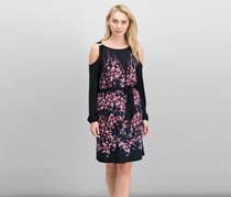 Ivanka Trump Printed Cold-Shoulder Dress, Black/Rose