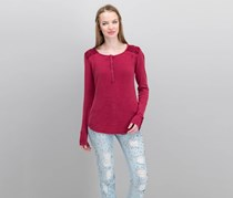 Lucky Brand Embroidered Thermal Top, Red