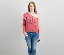 Lucky Brand One-Shoulder Tiered Flounce Top, Red
