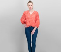 Cotton Eyelet Peasant Blouse, Spiced Coral