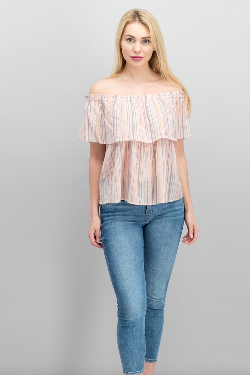 Off-the-Shoulder Crinkle Top, Beige Combo
