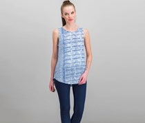 Lucky Brand Cotton Printed Tank Top, Blue/White