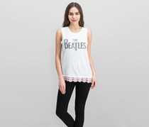 Juniors' The Beatles Lace-Trimmed Graphic Tank Top, Ivory