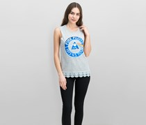 Love Tribe Juniors' Pink Floyd Lace-Trimmed Graphic Tank Top, Heather Grey/Blue