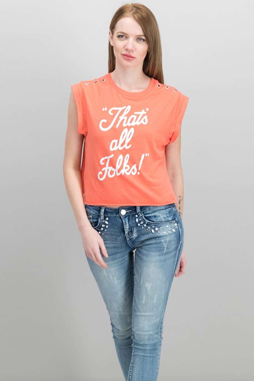 Juniors' That's All Folks Grommet Graphic T-Shirt, Rose
