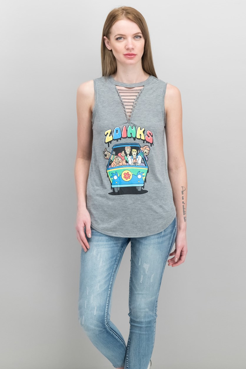 Juniors' Strappy Scooby-Doo Graphic T-Shirt, Heather Grey