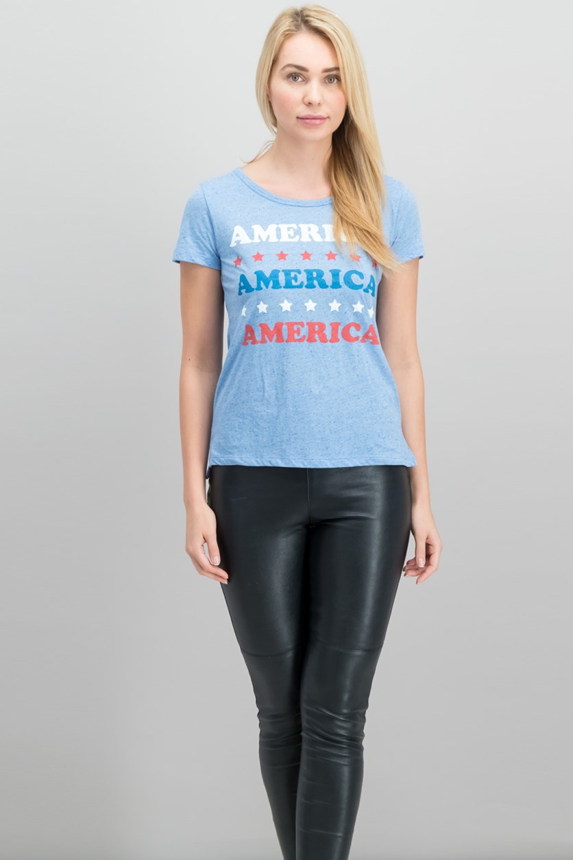 Juniors America Graphic-Print Top, Light Blue
