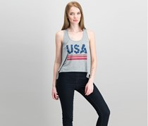 Hybrid Juniors' Usa Knotted-Back Graphic Tank Top, Heather Grey