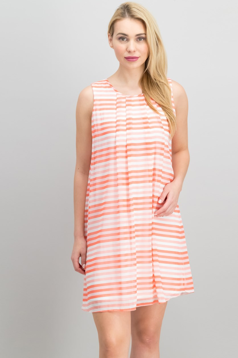 Women's Striped Sleeveless Shift Dress, Soft White/Pink