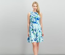 Calvin Klein Floral-Print Fit Flare Dress, Seaglass Combo