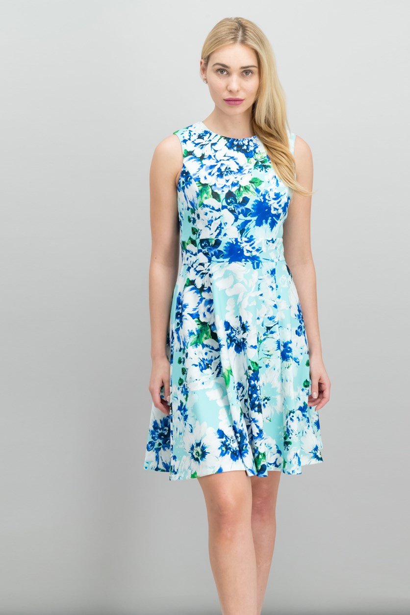 Floral-Print Fit Flare Dress, Seaglass Combo