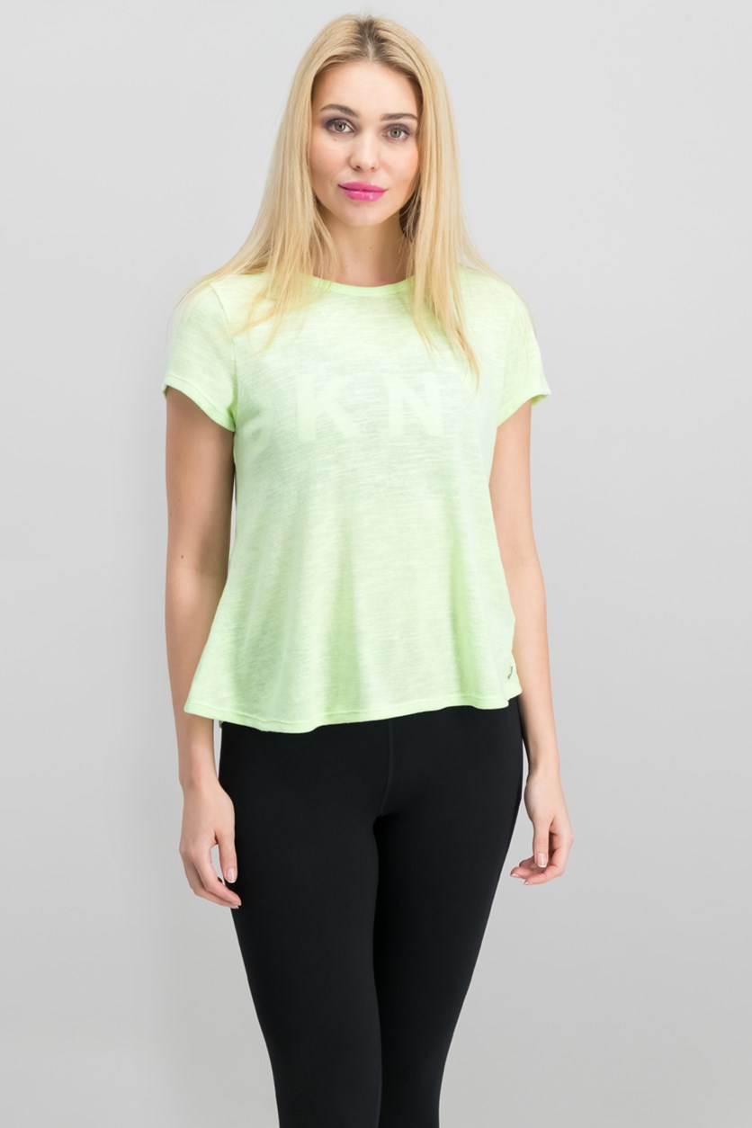 Women's Performance Overlapping-Back T-Shirt, Lime Green