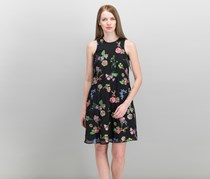 Calvin Klein Women's Floral Embroidered Shift Dress, Black
