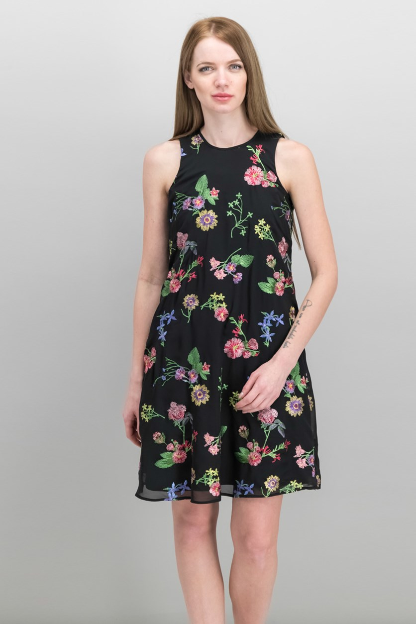 Women's Floral Embroidered Shift Dress, Black