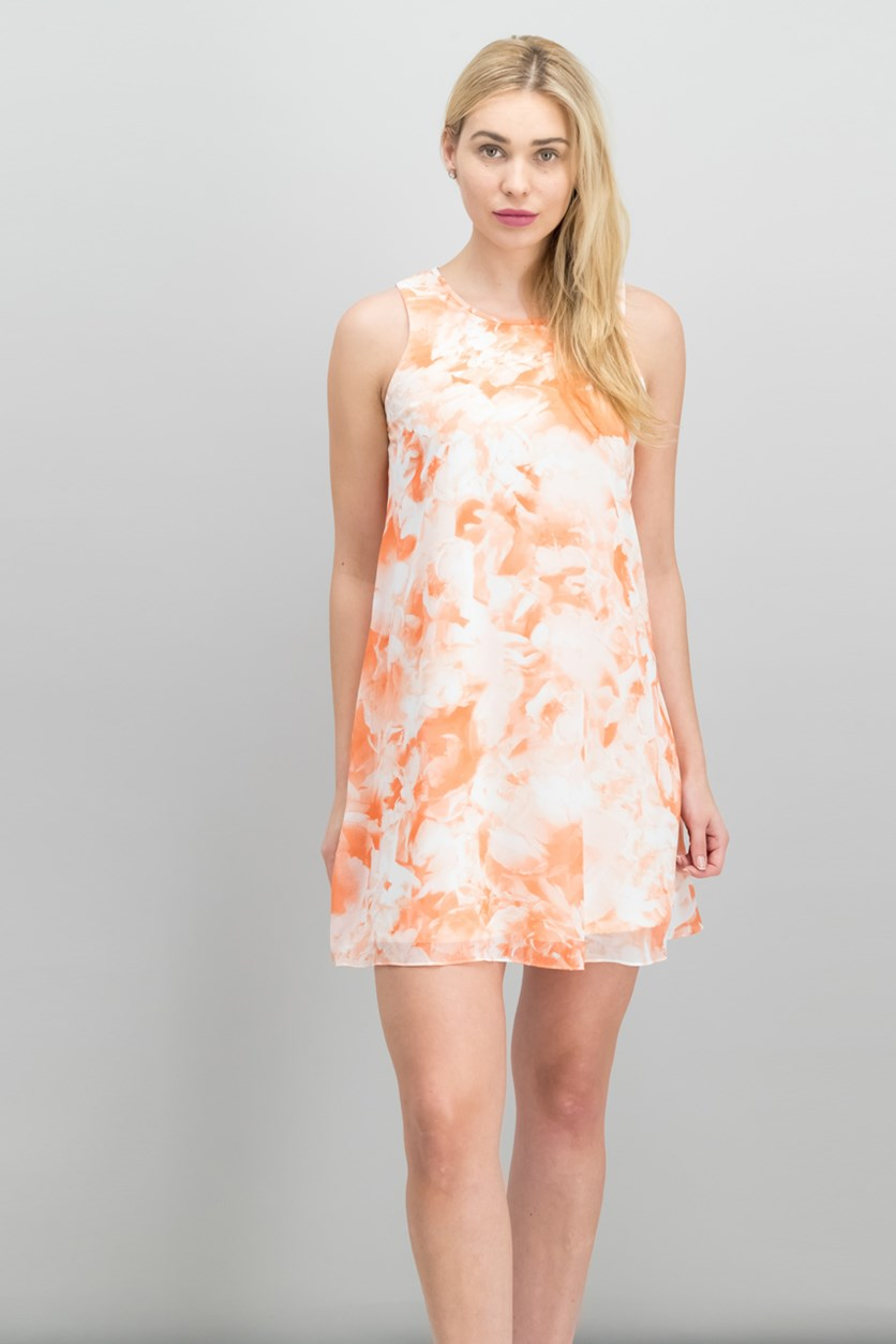 Floral-Print Shift Dress, Peach Combo