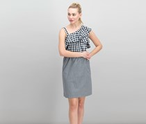 Women's Gingham One-Shoulder Flounce Sheath Dress, Black/White