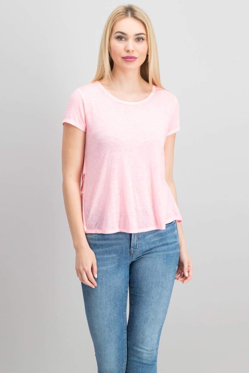 Flared-Hem Top, Hibiscus