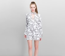 Guess Choker-Neck Romper, Frosted Floral White