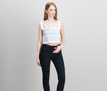Guess Sicily Smocked Cotton Crop Top, Pure White