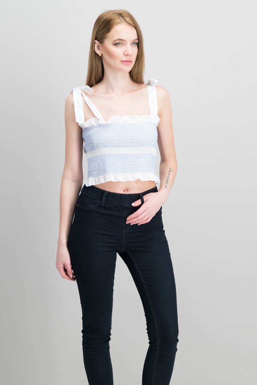 Sicily Smocked Cotton Crop Top, Pure White
