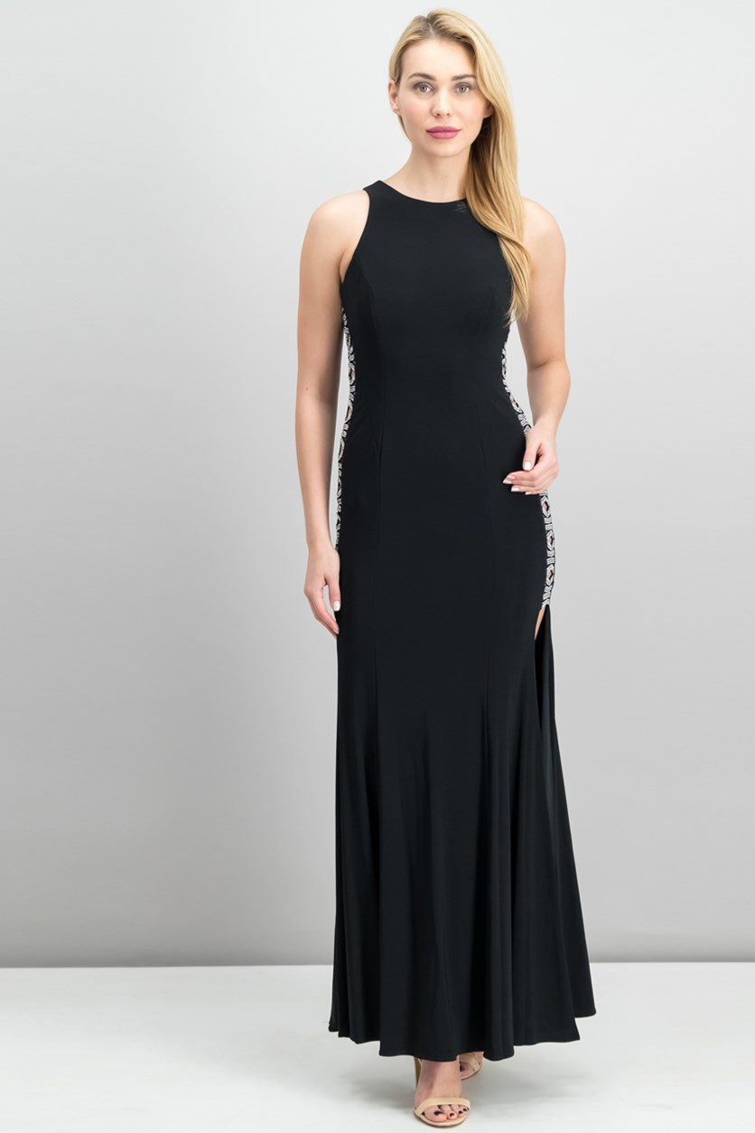 Beaded Cutout-Side Gown Dress, Black/Silver