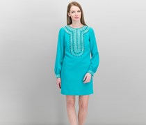 Trina Turk Kapona Embellished Bishop-Sleeve Dress, Aquatic