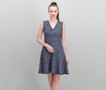 Rebecca Taylor Fray-Trimmed Tweed Dress, Navy Combo