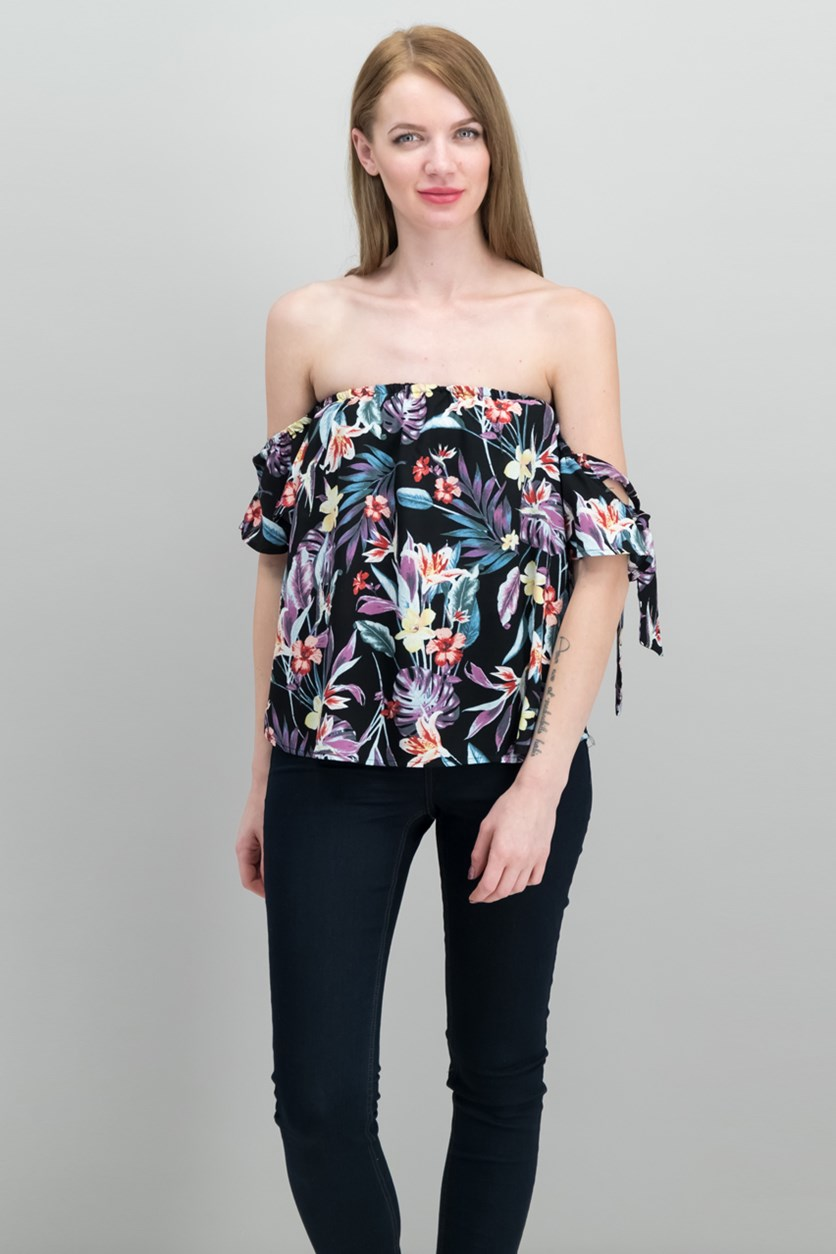 Gypsies Moondust Juniors Off-The-Shoulder Tops, Black Floral