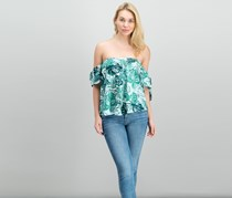 Gypsies and Moondust Juniors Off-The-Shoulder Top, Green Leaf