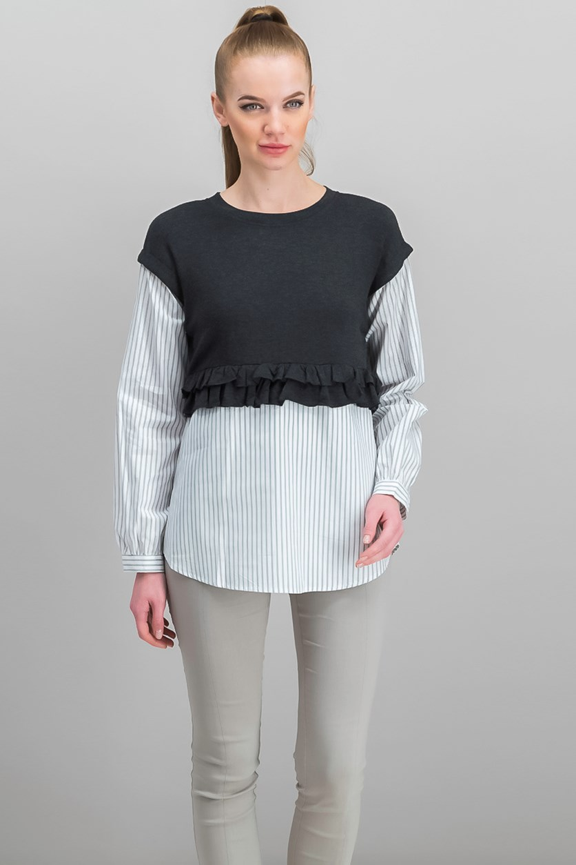 Women's Layered-Look Tops, Charcoal/White