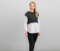 Kensie Women's Layered-Look Tops, Charcoal/Pink