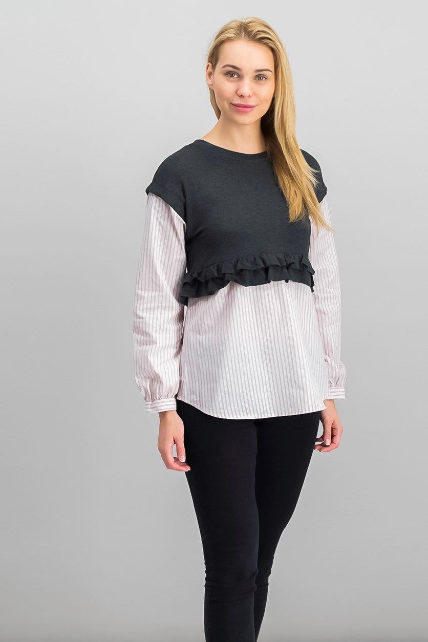 Women's Layered-Look Tops, Charcoal/Pink
