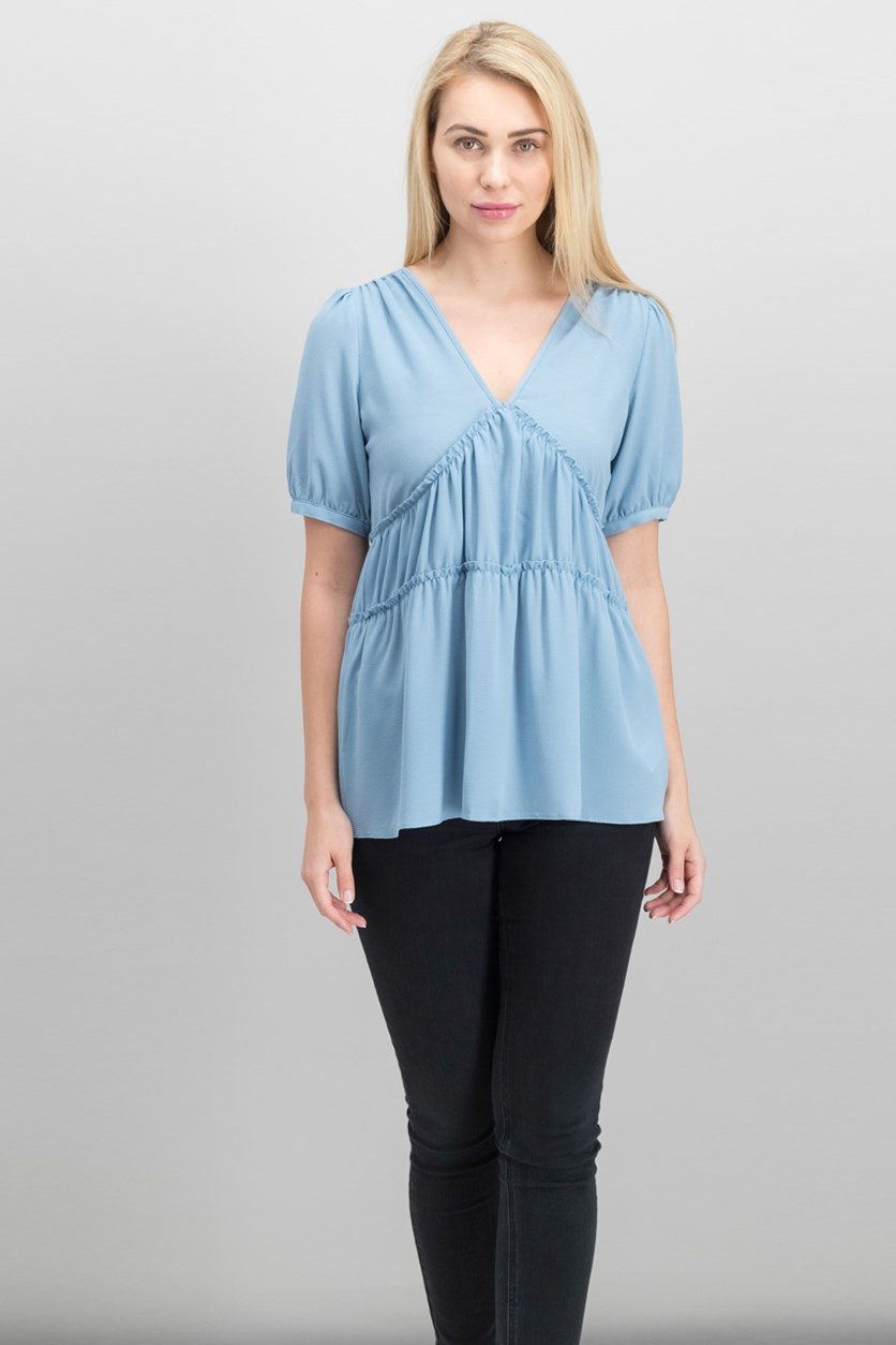 Women's V-Neck Blouse, Chambray