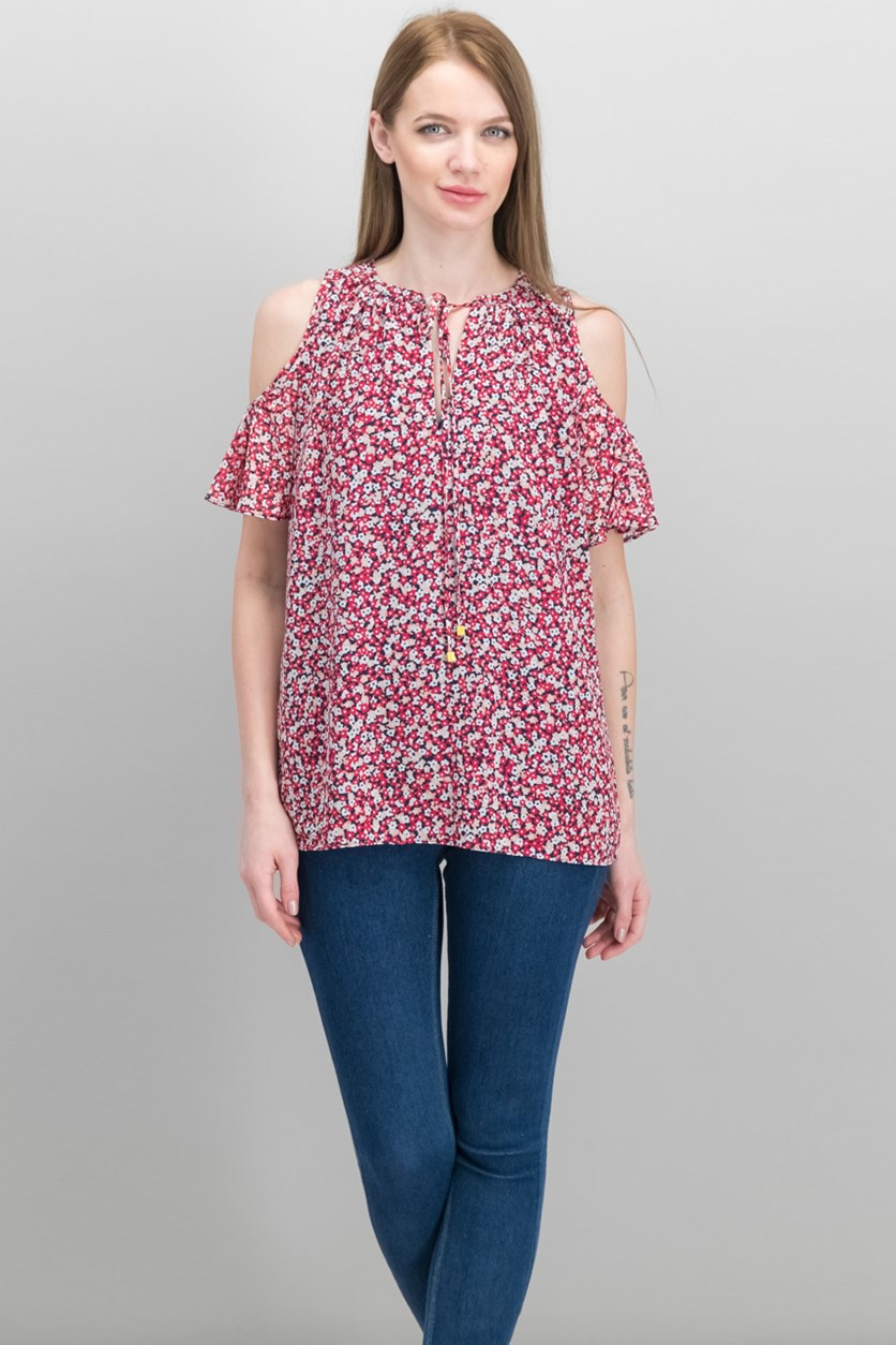 Collage Floral Cold-Shoulder Top, Red Combo