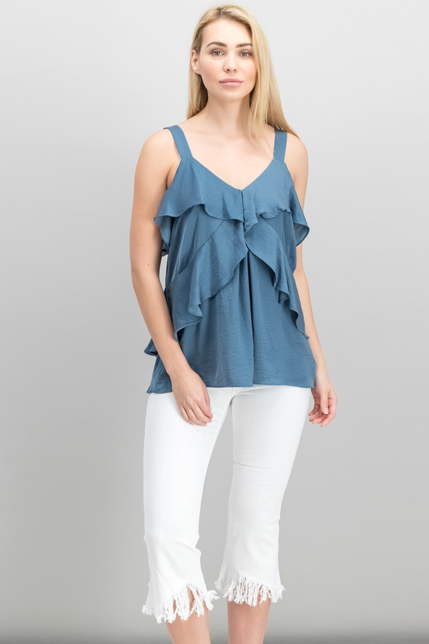 Women's Hammered Satin Ruffle Tank, Chambray