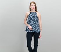 Michael Kors Printed Halter Top, True Navy/Light Chambray