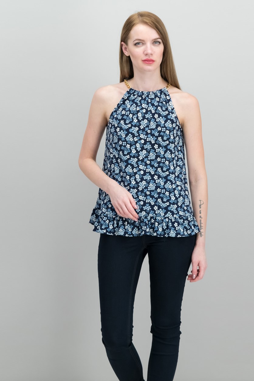 Printed Halter Top, True Navy/Light Chambray