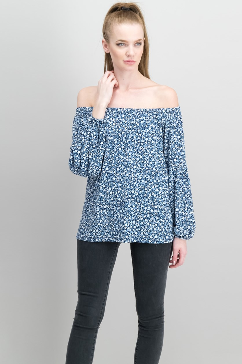 Women's Floral-Print Off-The-Shoulder Top, Navy