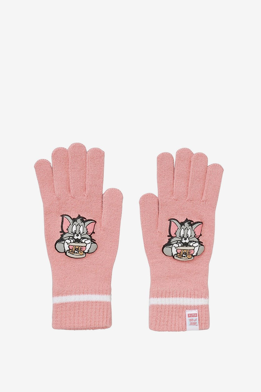 Puma Girl's Gloves Active Knit Gloves Tom and Jerry, Geranium Pink