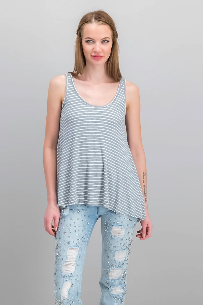 Women's Stripe Sleeveless Top, Gray/White