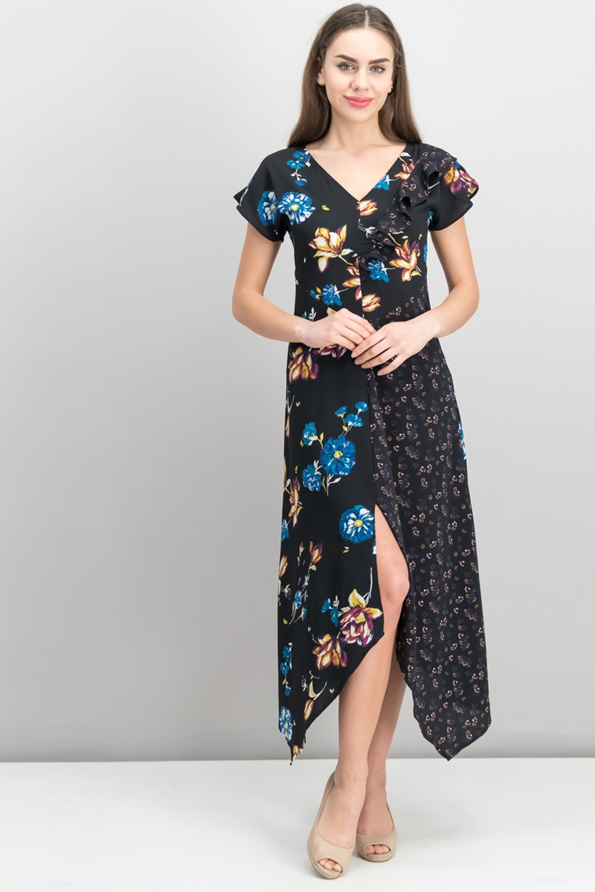 a8926c10b3141 Shop Xhilaration Xhilaration Floral Mixed-Print Lace-Up Maxi Dress ...