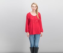 Women's Embroidered Top, Real Red