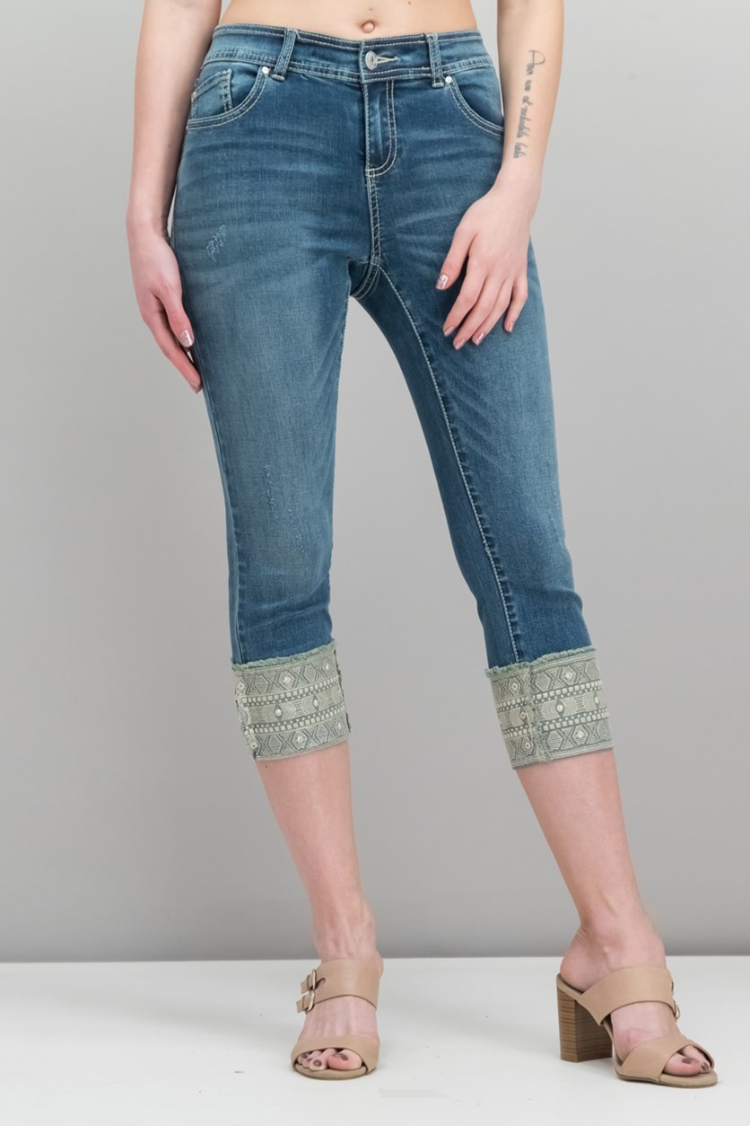 International Concepts Petite Embroidered-Cuff Jeans, Indigo