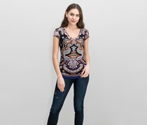 INC International Concepts Paisley-Print Ruched Top, Medley Paisley