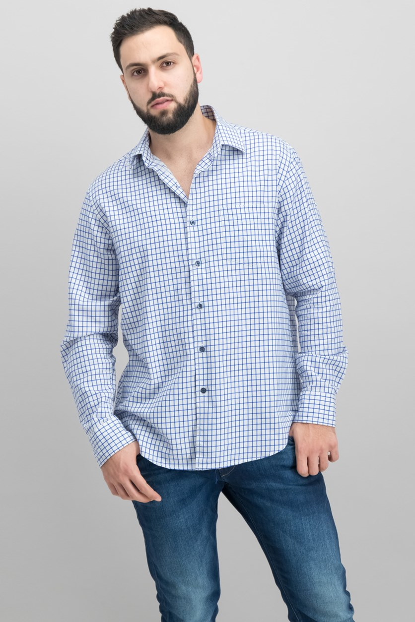 Men's Long-Sleeve Checked Shirt, White/Blue