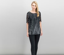 Jm Collection Printed Pleated Boat-Neck Top, Optical Wave