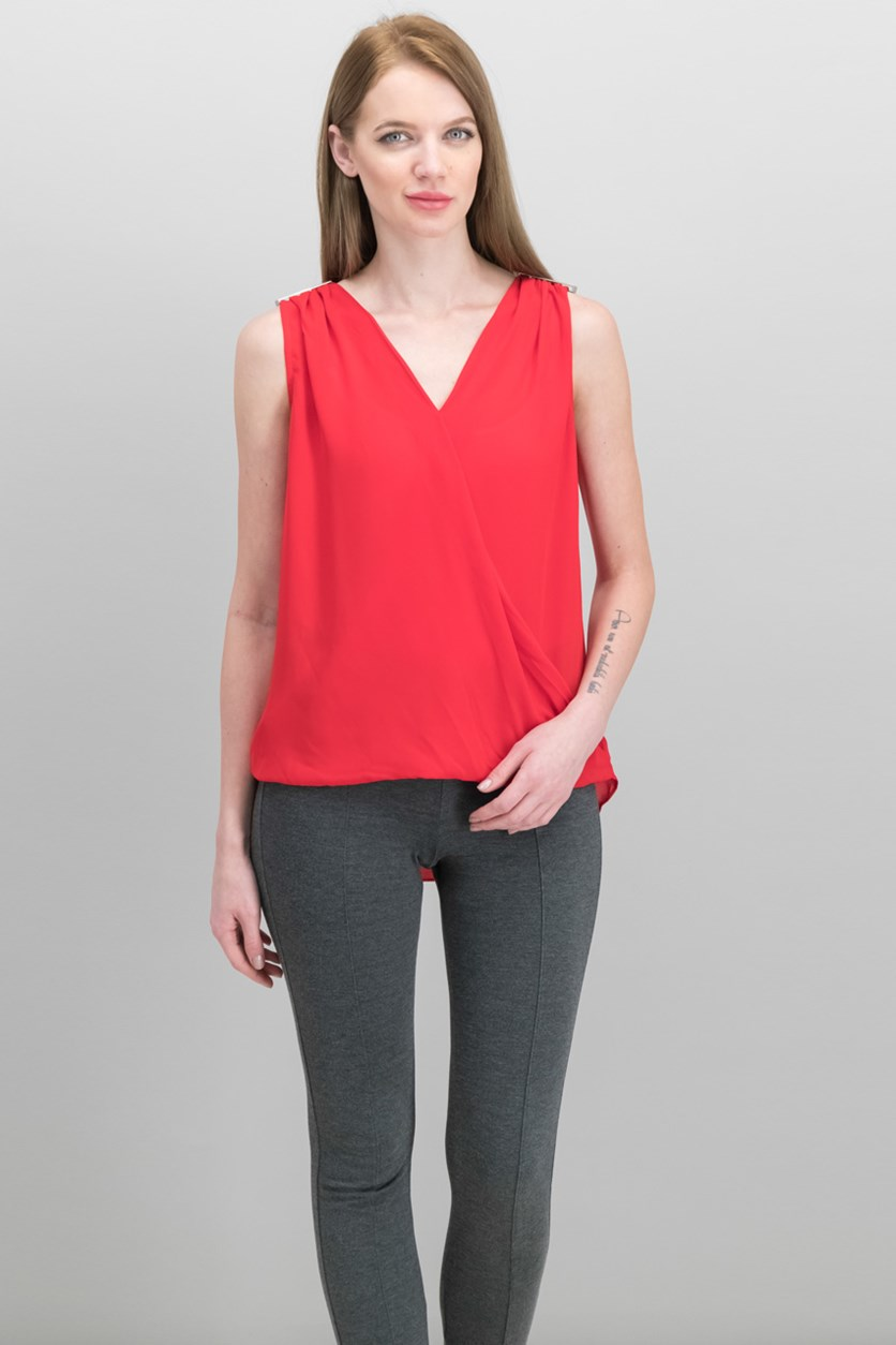 International Concepts Faux-Wrap Hardware Top, Real Red