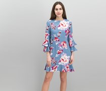 Bell-Sleeve Ruffled Dress, Rose Print