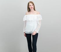 Jill Jill Stuart Off-The-Shoulder Lace Top, White Embroidery